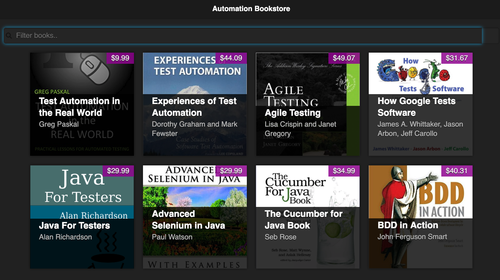 Automation Bookstore web app